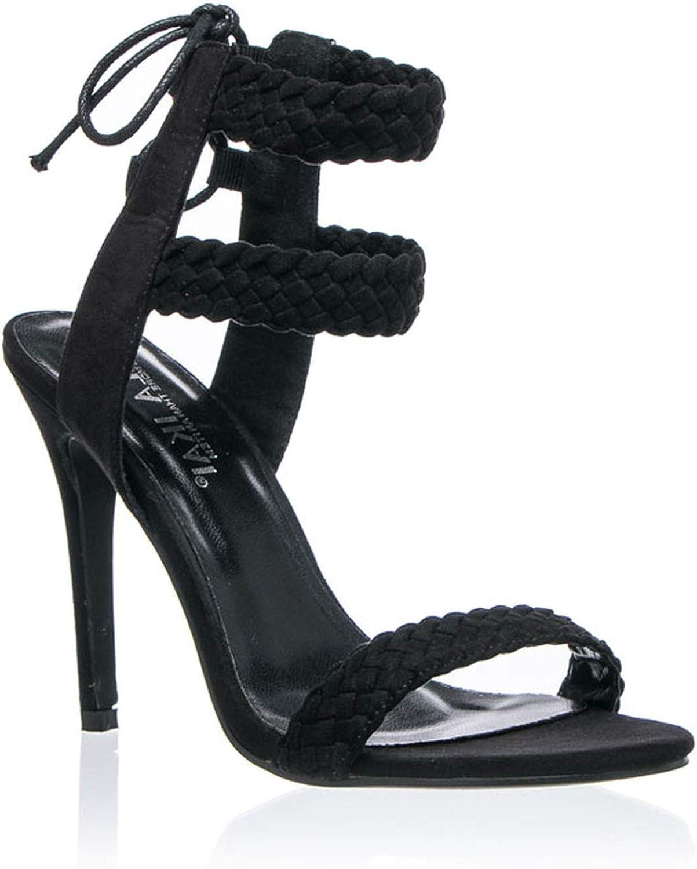 JIESENGTOO Women Ankle Strap Sandals Fashion High Heels Sandal Summer Weaving Thin Heels Women Pumps shoes
