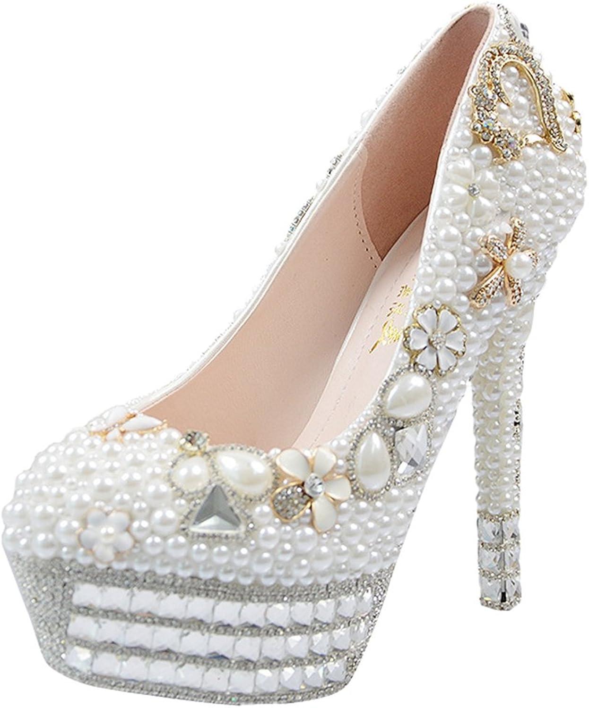 TDA Women's Beautiful Bridal Pearl Flowers Wedding Stiletto Pumps