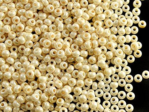 Chalk White//Cream Pearl Circa 2,5 mm Ceco Rotondo Perle di Rocailles con Foro Rotondo Seed Beads 20gr 9//0