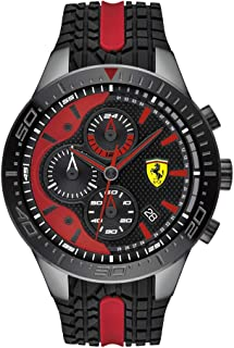 Ferrari Men's RedRev Quartz Black IP and Silicone Strap Casual Watch, Color: Black (Model: 830592)