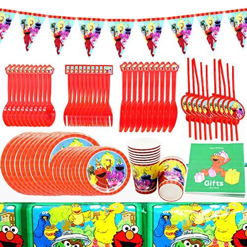 Sesame Street Party Supplies, FANDE 92 Piezas Plaza Sésamo Party Supplies Juego de Decoración, Decoraciones de Fiesta Niños Cumpleaños Pancartas Manteles Centros de Mesa Platos Tazas Servilletas