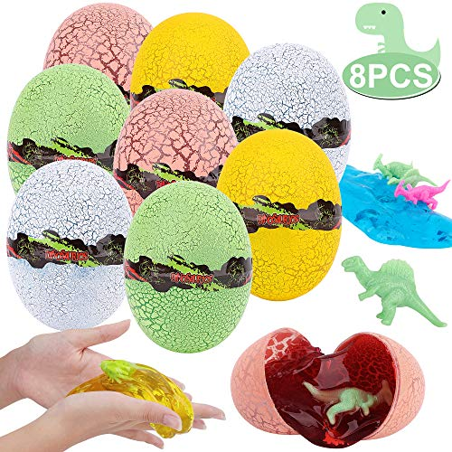 FiGoal 8 Pack 3.2 Inch Prefilled Jumbo Easter Dinosaur Eggs Filled with Crystal Slime & Small Dinosaurs Collectible Little Archaeologist Party Favors Decoration Classroom Games Prizes Carnivals School Supplies Gifts Egg Hunting Theme Basket Stuffers