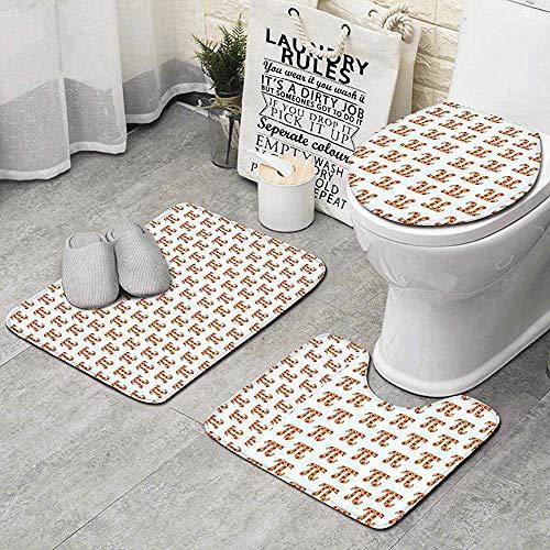 Gustave Tomlinson Circunferencia Día Pizza Pi Día Divertido Pi Rojo Naranja Alfombras de baño Antideslizantes Super Absorbente Seque rápidamente Alfombrilla de baño Juego de 3