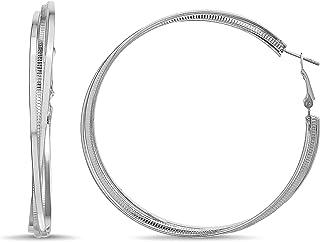 Steve Madden 70mm Plain Textured Triple Twist Hoop Earrings for Women