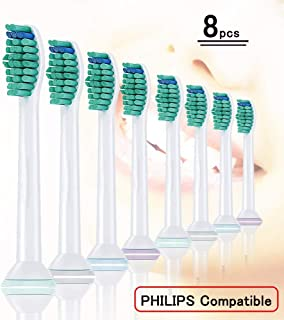 8pcs (2x4) Brush Heads, HX6014 Replacement Brushes for Philips Sonicare Toothbrush Attachment ProResults, Fits Philips Electric Toothbrushes