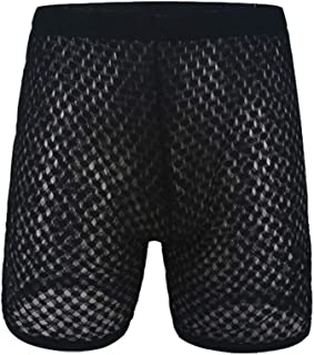 YOOBNG Mens Hollow Openwork Lounge Underwear Boxer Briefs Causal Beach Shorts Lightweight Slim Fit Summer Pants