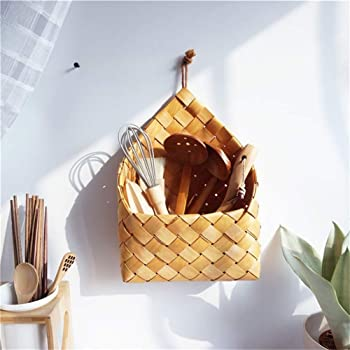 Anpay Hanging Rattan Basket, Natural Wicker Flower Basket, Rustic Wall Planters for Indoor Plants, Home Garden Wall Decoration