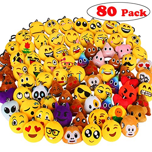 Dreampark 80 Pack Mini Emotion Keychain Plush, Party Favors for Kids, Christmas / Birthday Party Supplies, Emoticon Gifts Toys Carnival Prizes for Kids 2' Set of 80