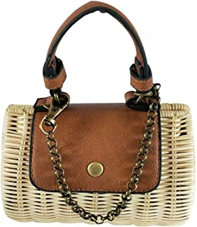 Fashion Handbags Practical Straw Bag Leather Clamshell Wicker Woven Mini Portable Messenger Bag (Color : Beige)