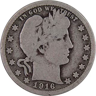 1916 D 25c Barber Silver Quarter US Coin Average Circulated