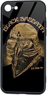 Black Sabbath iPhone 7 Case iPhone 8 Case, Soft TPU and Tempered Glass Double Layer Mobile Phone Case Cover for 4.7 in