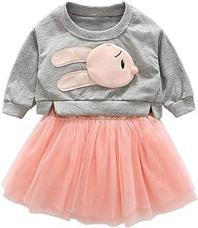 Fairy Baby Girls Outfit 2pcs Clothes Set Bunny Sweatshirt Tops Shirt+Mesh Tutu Skirt Set