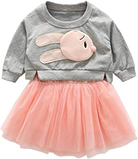 Fairy Baby Girls Outfit 2pcs Clothes Set Bunny Sweatshirt Tops Shirt+Mesh Tutu Skirt Set