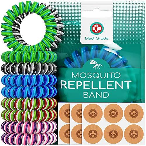 Medi Grade Pulseras de Goma Repelentes de Mosquitos [10uds] Parches Repelentes de Insectos [120uds] Primeras Pulseras Anti Mosquitos de Triple Espiral – De Plantas Naturales Sin DEET