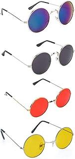 Dervin Men's and Women's Gandhi Round Shape Retro Sunglasses Shades (Multicolor, Combo of 4)