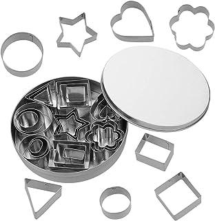 Heyu-Lotus Mini-kit d'emporte-pièce, 24 pièces en acier inoxydable Emporte-pièce de forme géométrique pour fondants, biscu...