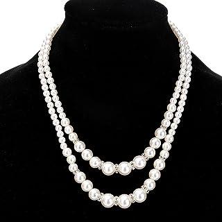 Baost Fashion Women Faux Pearl Beads Necklace Luxury Rhinestone Inlaid Double-Layer Strand Collar Bib Choker Necklace Jewelry Gift for Women Girls Silver