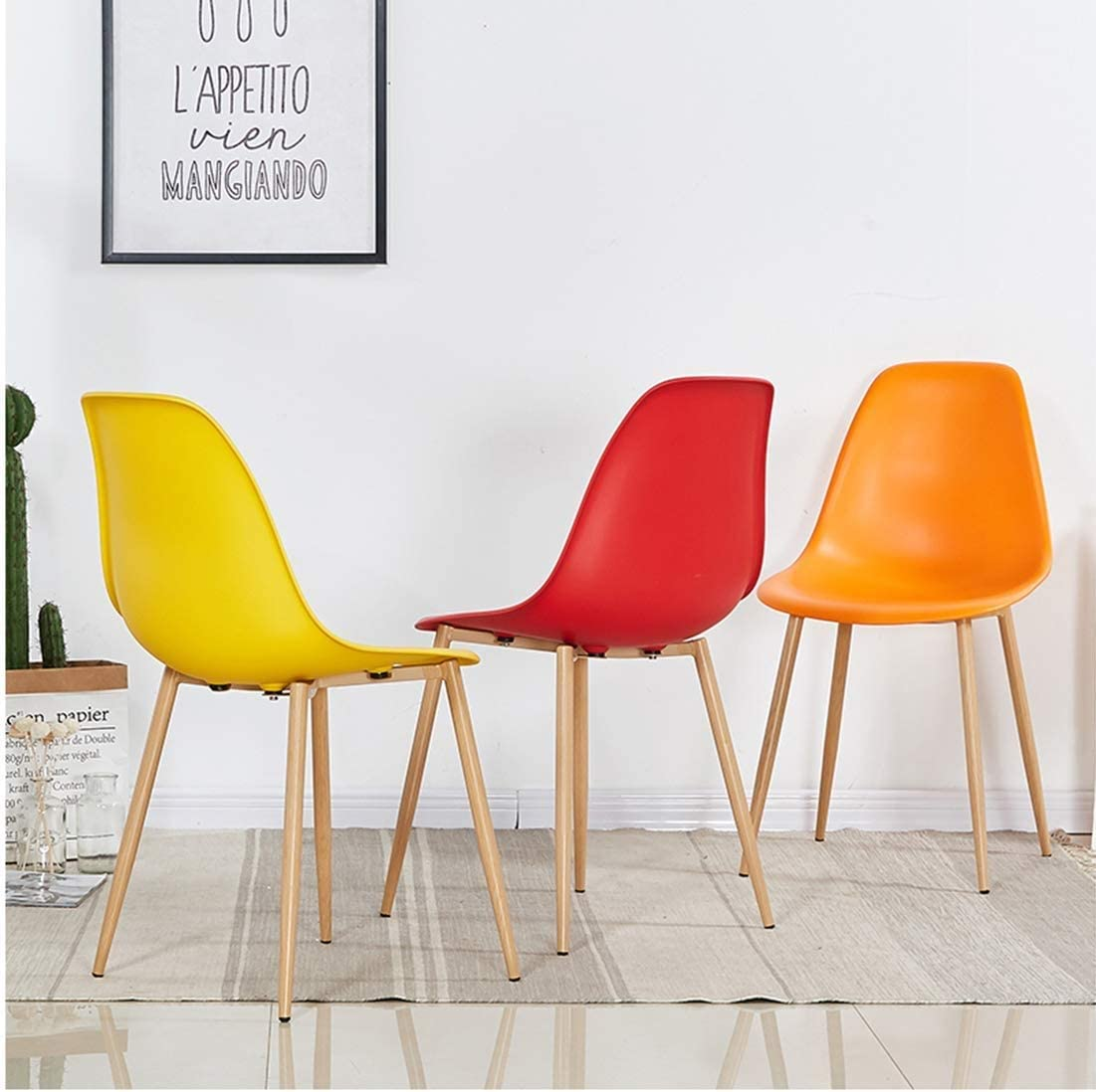 KSW_KKW PP en Plastique Chaise de Salle à Manger avec Pieds en métal, Conception Ergonomique Comfort Curve, for Le Salon/Café/Salon/étude/Salle à Manger/Pub (Color : Orange) Yellow