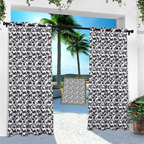 YUAZHOQI Patio Curtains Outdoor Waterproof, Retro Chopper Pattern Monochrome Motorbike Design Adventure Cruising Theme, W 52' x L 84' Window Treatment Panel for Porch Balcony Pergola Gazebo(1 Panel)