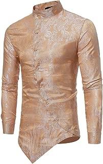 Printed Muscle Tee T-Shirt Men Spring Irraguler Slim Fit Long Sleeve Top Blouse