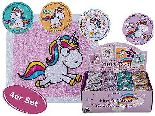 Magisches Handtuch Comic Einhorn 4er Set - Kindergeschenk, Mitgebsel etc.