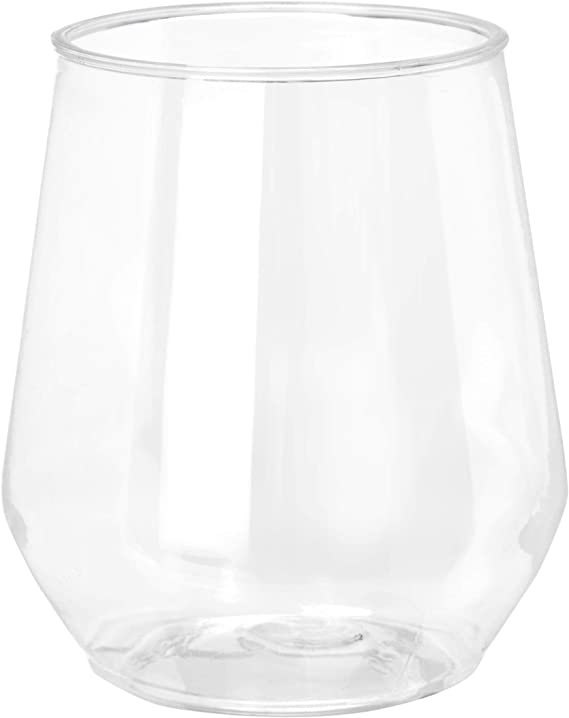 32 count 12 oz Unbreakable Stemless Plastic Wine Champagne Glasses Elegant Durable Reusable Shatterproof Indoor Outdoor Ideal for Home