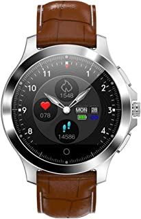SAHWIN® Pulsera Fitness, Reloj Inteligente Impermeable IP67 con Monitor De Sueño Pulsómetro Podómetro, Caloría GPS para Deporte, Reloj Inteligente Mujer Niños,Brown Leather Strap