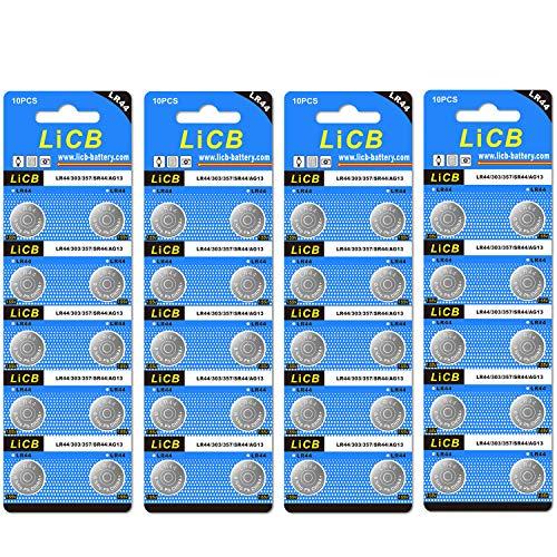 LiCB 40 Pack LR44 AG13 357 303 SR44 Batteries 1.5V Button Coin Cell Battery