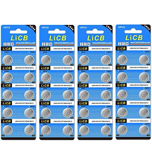 small LiCB 40 Pack LR44 AG13 357303 SR44 Battery 1.5 V Button Cell