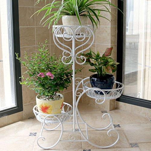 MILUCE Ensemble à Fleurs en Fer Multi - Étages Balcon Balcon Pots à Fleurs en Europe (Couleur : Blanc, Taille : 48*24*68cm)