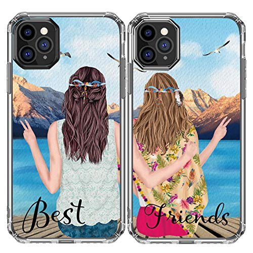 iPhone 11 Case,Women Couples Cases Best Friends Matching Bohemia Soul Sisters Girlfriends Soft Clear TPU with Design Pattern Girly Lovely Protective Case Compatible with iPhone 11 Left