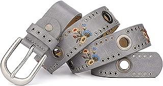 Jeans Belt for Women Fashion Flower Rivet Belt. (Color : Grey)