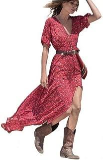 Women Boho Floral Long Maxi Dress Vintage Summer Chiffon Dresses Party Beach