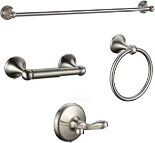 BGL Bathroom Accessory Set, Brushed Nickel Adjustable Expandable Towel Bar 4-Piece Bathroom Hardware Set Wall Mounted