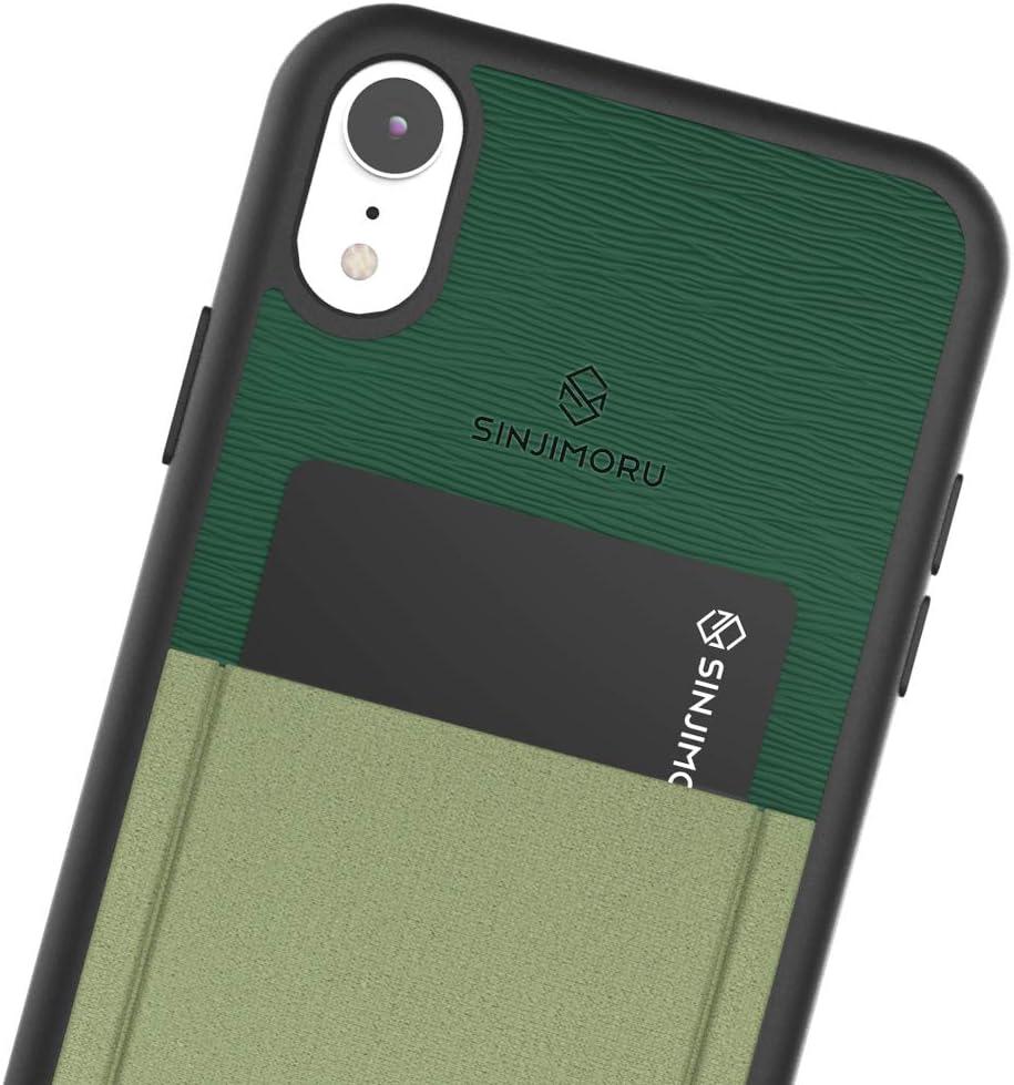 Sinjimoru iPhone XR Case with Card Holder, Slim Card Wallet Case. Sinji Pouch Case for iPhone XR, Green
