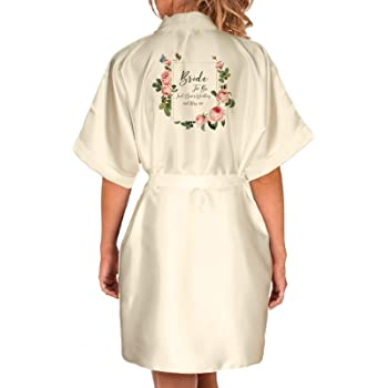 Personalised Wedding Robes Dressing Gowns Multiple Pack in Floral Design Bride