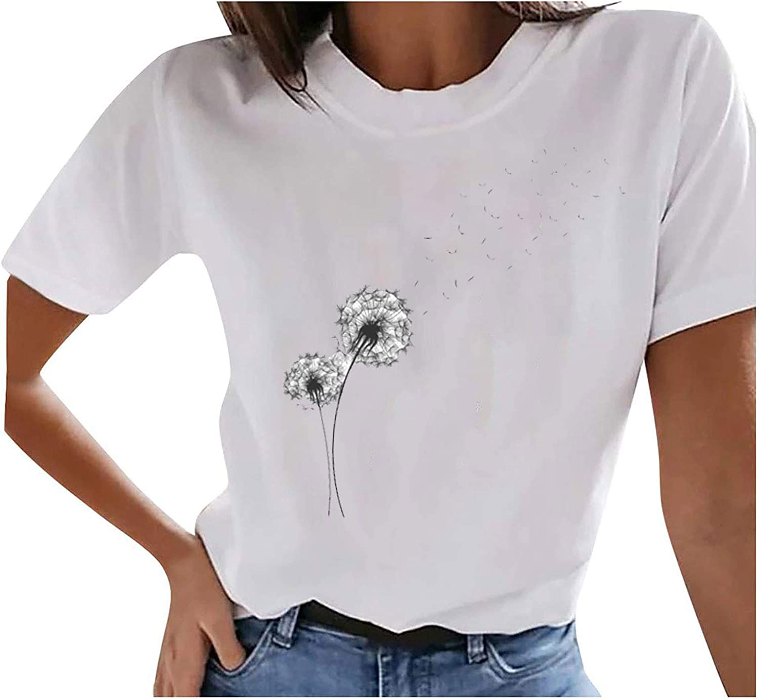 Casual Butterfly Printed Tops for Women Solid O-Neck T-Shirts Short Sleeves Tees Summer Classic Blouse Loose Comfy Tunic