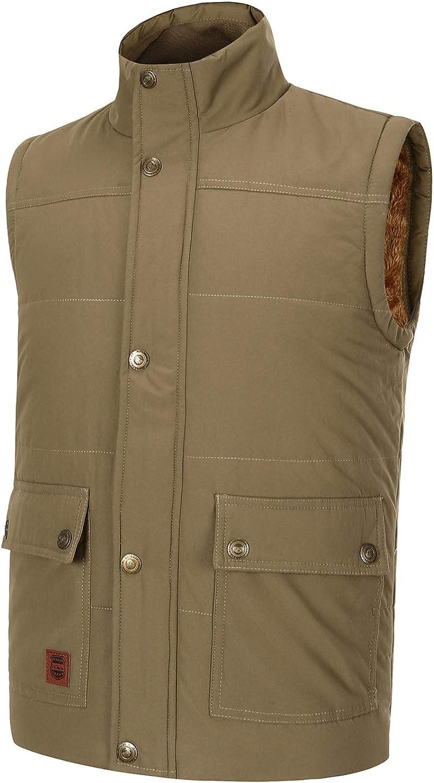 Spanye Men's Winter Warm Vest Padded Puffer Jacket Casual Thick Sleeveless Coat Plus Size