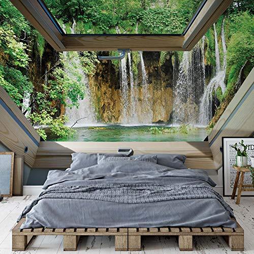 Wasserfall 3D-Dachfenster-Ansicht Vlies Fototapete Fotomural - Wandbild - Tapete - 208cm x 146cm / 2 Teilig - Gedrückt auf 130gsm Vlies - 10408VEXL - Seen und Wasserfälle