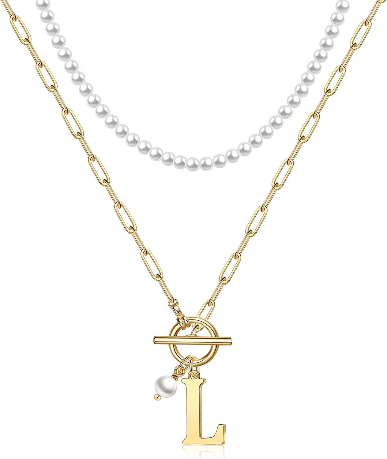 Gold Initial Pearl Necklace for Women, 14K Gold Plated Dainty Layering Paperclip Chain Necklace Toggle Clasp Choker Pearl Necklace for Women Personalized Initial Layered Gold Necklaces for Women