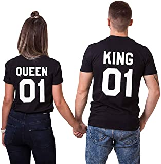 Best T-Shirt King Queen Pair Set 2 Matching Couple Valentine Birthday Wedding Review