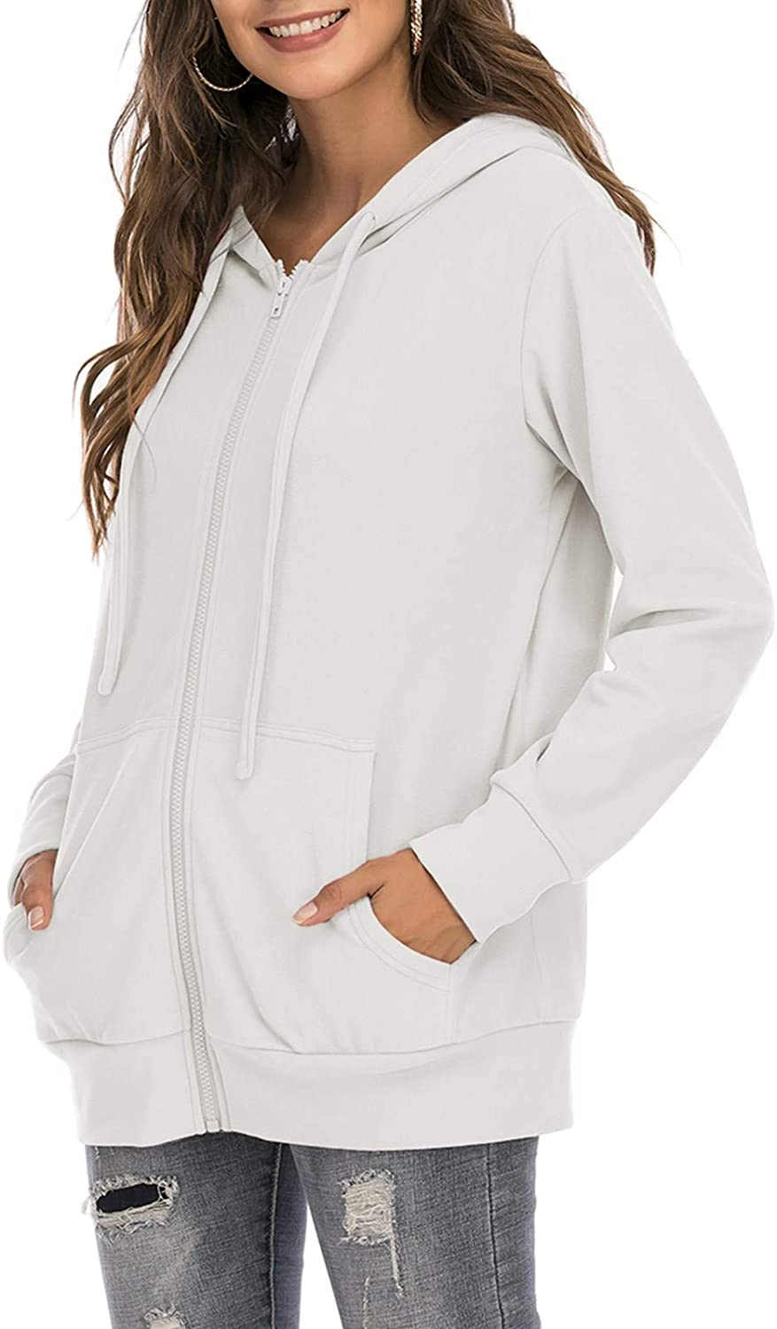 GOCHIC Womens Zip Up Long Sleeves Hoodie Casual Solid Color Sweatshirt with Pockets