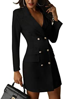 Yaoyaou Women's British Double Breasted Turn Down Collar OL Blazer Dress Slim Fit Office Dress Mini Long Trench Coat