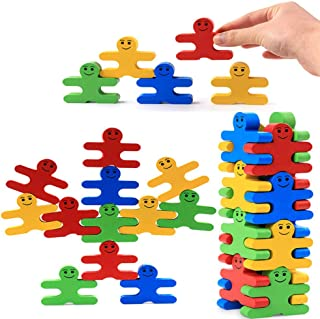 SLDZ Wooden Stacking Toys Balance Villain Building Blocks 3D Wooden Assembly Toys Baby Educational Toys Montessori Educational Toys Children Stack Music Games