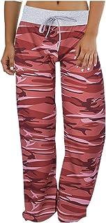 Oldlover-Women Casual Stretch Pajama Lounge Yoga Pants Workout Floral Print Drawstring Palazzo Wide Leg Lounge Pants