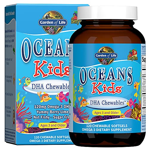 Garden of Life Fish Oil Omega 3 for Kids - Oceans Kids DHA Cod Liver Oil Chewable Softgels - Berry Lime, 120mg, EPA, Vitamin A, D3 - Sugar Free Fish Oil Supplement, Multi, 120 Count