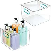 mDesign Plastic Storage Bin with Handles for Organizing Hand Soaps, Body Wash, Shampoos, Lotion, Conditioners, Hand Towel...