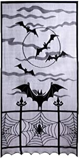 Shimigy Halloween Bats Spider Web Curtains Cobweb Black Lace Festival Window Door Decor