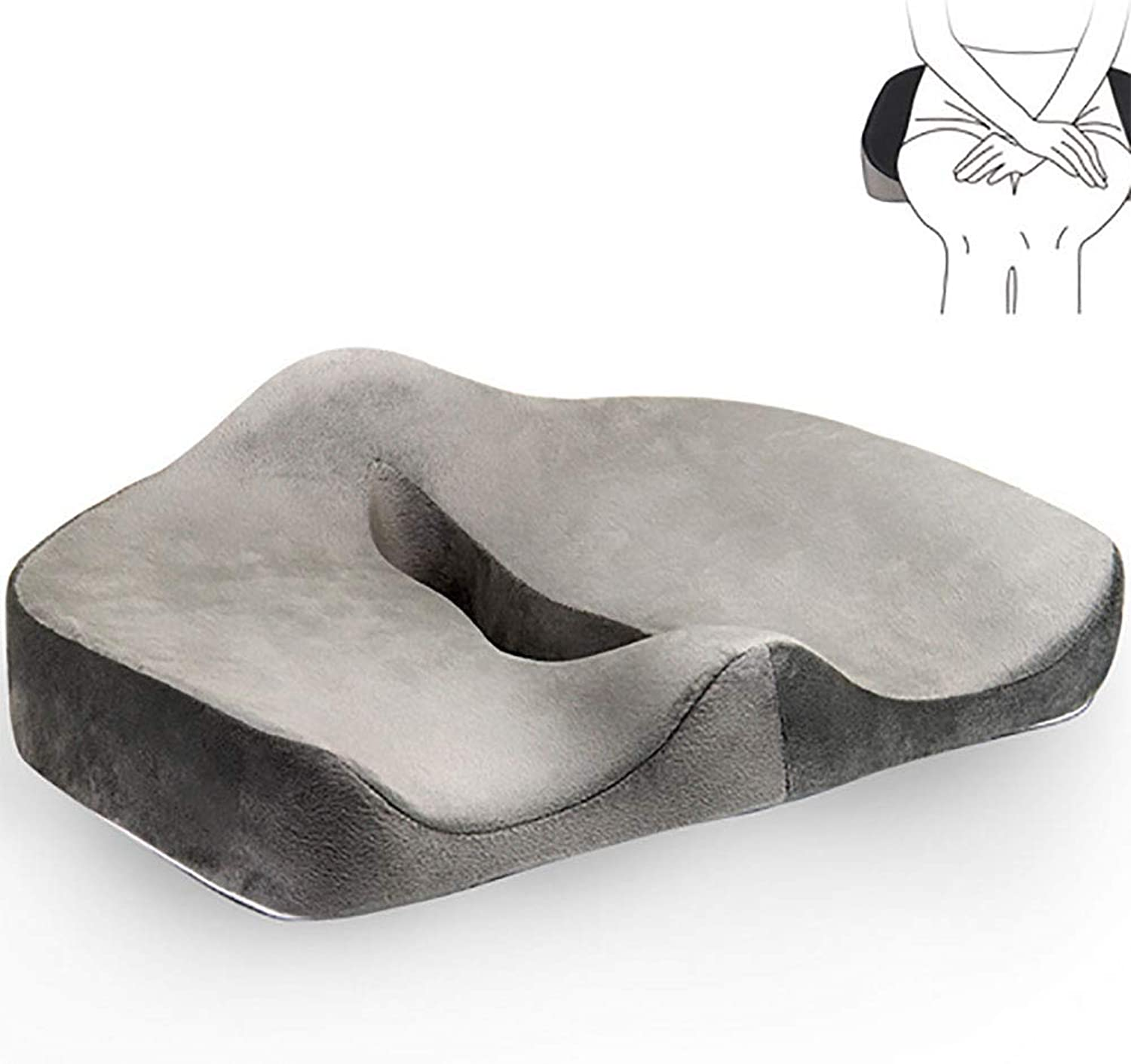Seat Cushion for Car or Office Memory Foam Chair Pillow for Orthopedic Sciatica Back Support and Tailbone Pain Relief (45  38  13cm)