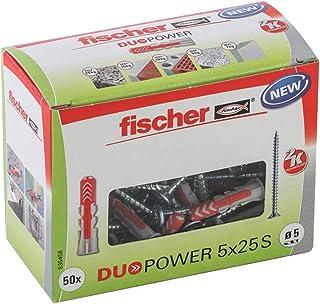 fischer DUOPOWER 5 x 25 S, universele pluggen met veiligheidsschroef, 2-componenten pluggen, kunststof pluggen voor bevest...